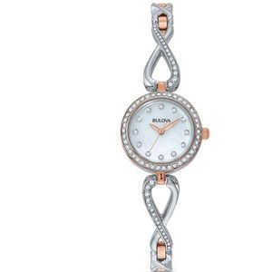 Ladies' Bulova Crystal Watch +Mother-of-Pearl-Dial